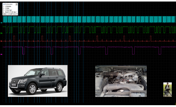 Эталон синхронизации-Сигнал ДПКВ + ДПРВ-Mitsubishi-Pajero 2006– : Image 1