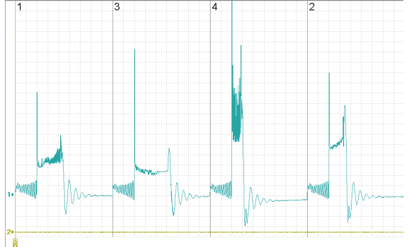 Bad distributor cap - Secondary voltage (Cx pickup clip) - Mercedes - W140 1991-1998 : Image 1