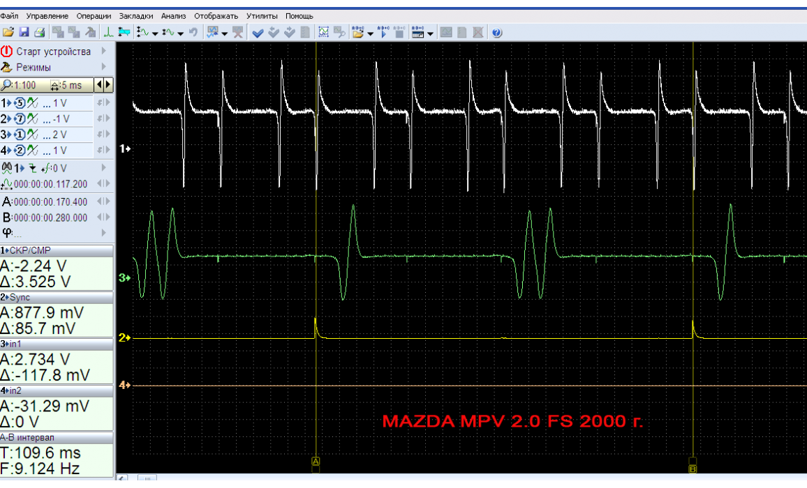 Эталон синхронизации - Сигнал ДПКВ + ДПРВ - Mazda - 626 1997-2002 : Image 1