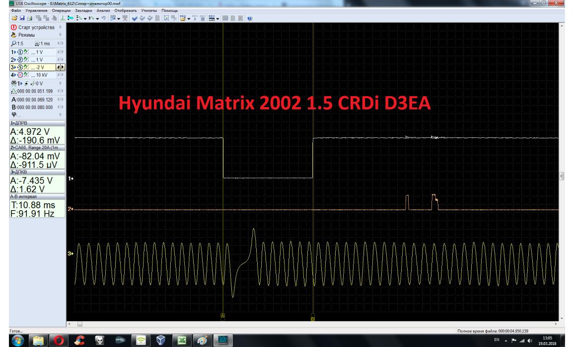Эталон синхронизации - Сигнал ДПКВ + ДПРВ - Hyundai - Matrix 2001-2010 : Image 1