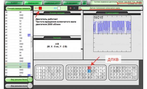 Как подключить осциллограф - Сигнал ДПКВ + ДПРВ - Nissan - Juke 2010- : Image 1