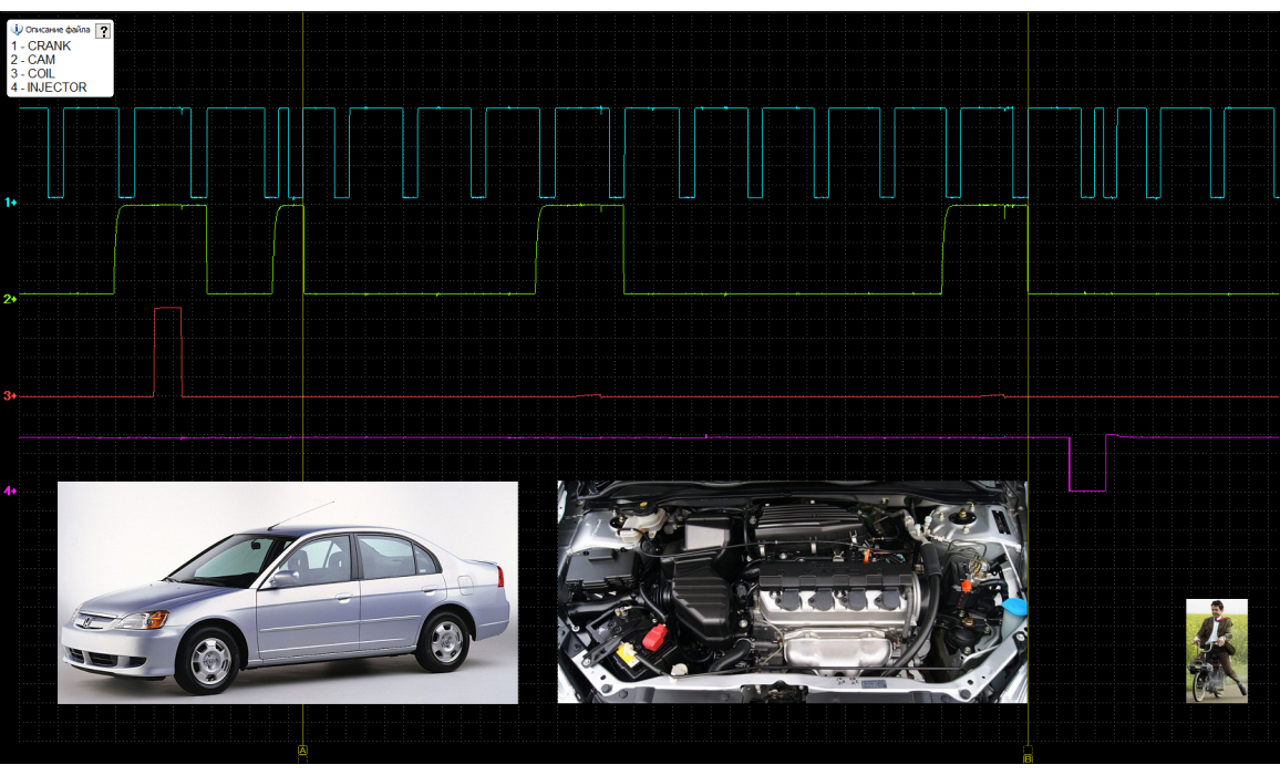 Эталон синхронизации - Сигнал ДПКВ + ДПРВ - Honda - Civic 2001-2005 : Image 2