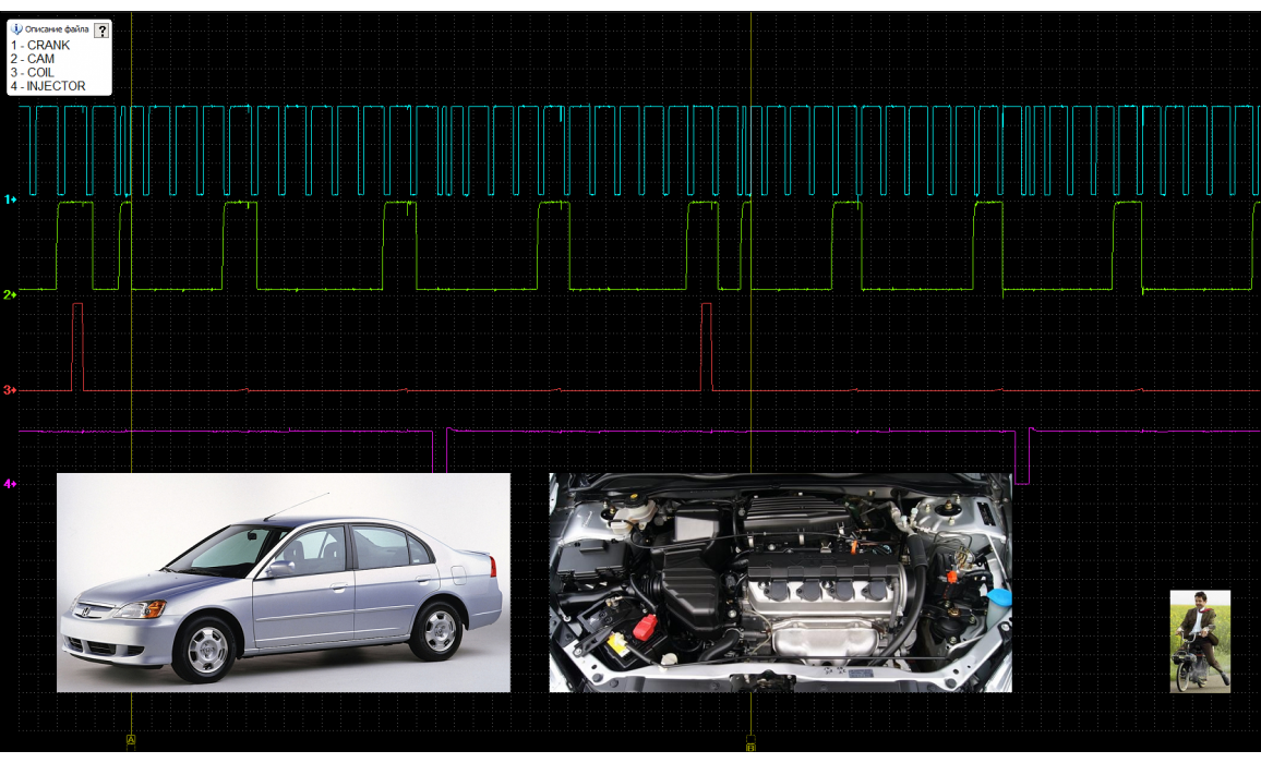 Эталон синхронизации - Сигнал ДПКВ + ДПРВ - Honda - Civic 2001-2005 : Image 1